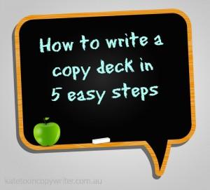 how to write a copy deck